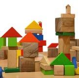 Stad van houten kubussen Royalty-vrije Stock Afbeeldingen