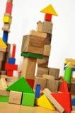Stad van houten kubussen Stock Afbeeldingen