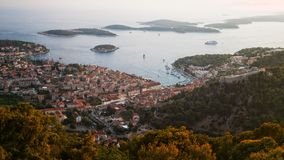 Stad van Hvar, Hvar-Eiland, Dalmatië, Kroatië Stock Foto's