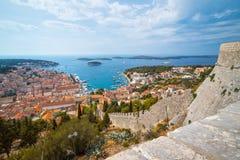 Stad van Hvar, Hvar-Eiland, Dalmatië, Kroatië Royalty-vrije Stock Foto