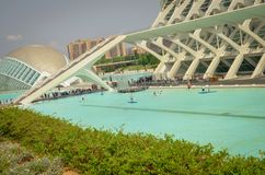 Stad van Kunsten en Wetenschappen Valencia De stad van Valencia van wetenschap Hemisferic Valencia, Spanje royalty-vrije stock foto