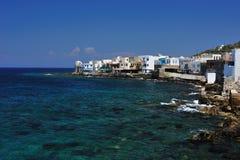 Stad van Mandraki op vulkanisch eiland Nisyros Royalty-vrije Stock Foto