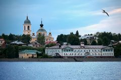 Stad van Myshkin op banken van rivier Volga, Rusland Stock Fotografie