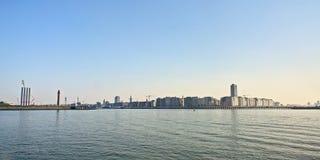 Stad van Oostende, van de Noordzee wordt gezien die royalty-vrije stock afbeeldingen
