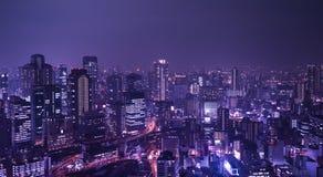 Stad van Osaka bij nacht Stock Afbeelding