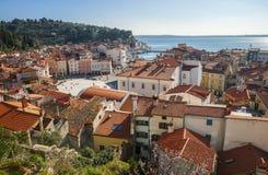Stad van Piran, Adriatische overzees, Slovenië Royalty-vrije Stock Afbeeldingen