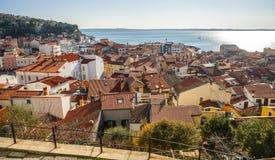 Stad van Piran, Adriatische overzees, Slovenië Royalty-vrije Stock Foto