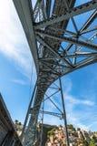 Stad van Porto in Portugal Ponte Luiz I Brug over Douro-rivier Stock Afbeeldingen