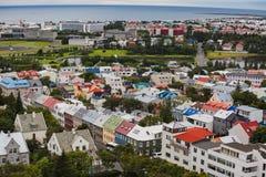 Stad van Reykjavik vanaf de bovenkant Stock Foto