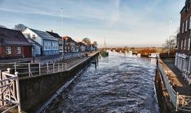 Stad van Ribe, Denemarken Stock Afbeelding