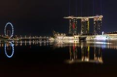 Stad van Singapore bij nacht Royalty-vrije Stock Fotografie