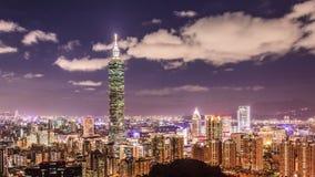 Stad van Taipeh bij nacht stock videobeelden