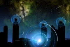 Stad van toekomst over ruimte en hologrammen Royalty-vrije Stock Foto's