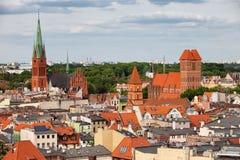 Stad van Torun Cityscape in Polen Stock Afbeelding