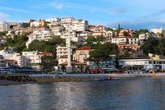 Stad van Ulcinj Mening van het stadsstrand royalty-vrije stock foto's