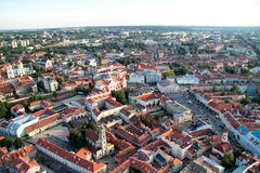 Stad van Vilnius Litouwen, luchtmening Stock Fotografie