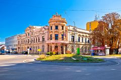 Stad van Virovitica straatmening Stock Foto