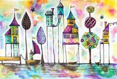 Stad van waterverf de magische huizen, straat stock illustratie