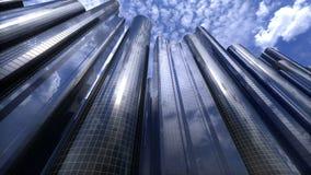 Stad van wolkenkrabberslijn stock footage