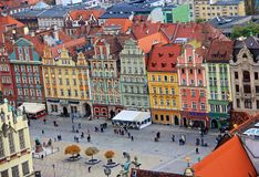 Stad van Wroclaw, oude stad Stock Fotografie