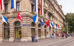 Stad van Zürich op de Zwitserse Nationale Dag Royalty-vrije Stock Afbeeldingen