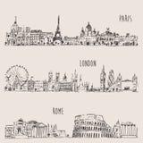 Stad Vastgesteld Londen, Parijs, Rome Gegraveerde Illustratie Stock Afbeelding