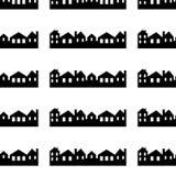 Stad vektorsymbol, bakgrund, sömlös modell för svartvit kontur vektor illustrationer