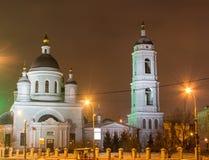 Stad vid natt, i nattMoskva Arkivfoto