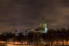 Stad vid natt, i nattMoskva Fotografering för Bildbyråer