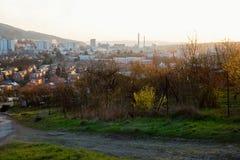 Stad Zlin bij zonsondergang Stock Fotografie