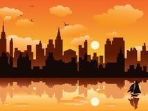 Stad in zonsondergang Royalty-vrije Stock Fotografie