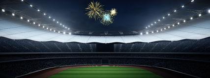 Stade avec des fans la nuit avant le match rendu 3d Images stock