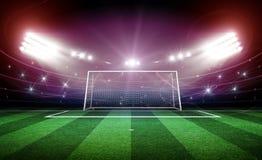 Stade avec le poteau 3d de but Photo libre de droits