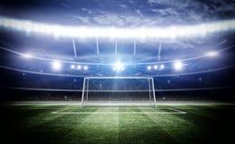 Stade avec le poteau 3d de but Images stock