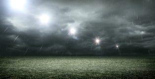 Stade avec les nuages foncés, rendu 3d Image stock