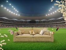 Stade avec un sofa au milieu rendu 3d Photos libres de droits