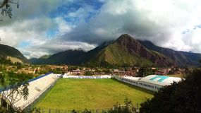 Stade dans la vallée sacrée, Cusco Photo stock