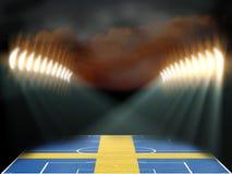Stade de football avec le champ texturisé de drapeau de la Suède Photos libres de droits