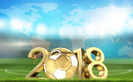 Stade de football du football et renderi 3d d'or de la boule 2018 du football Photo libre de droits