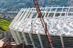 Stade de football en construction Photographie stock libre de droits
