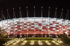 Stade de football la nuit Photos stock