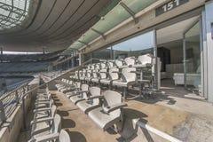 Stade de France stadium. At the tribune of the main stadium in France - Stade de France Stock Photo