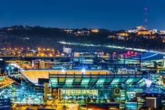 Stade de Heinz Field par nuit image stock
