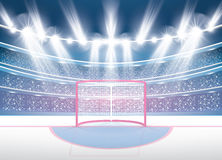 Stade de hockey sur glace avec des projecteurs et le but rouge illustration libre de droits