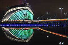 Stade de Jeux Asiatiques la nuit, Guangzhou, Chine Image stock