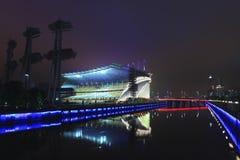 Stade de Jeux Asiatiques la nuit, Guangzhou, Chine Images libres de droits