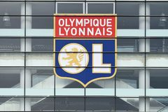 Stade de Lyon - Groupama Stadium detail. Detail of Stade de Lyon pictured prior to the 2017/18 UEFA Europa League Final between Olympique de Marseille and Royalty Free Stock Image