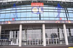 Stade de Lyon - Groupama Stadium detail. Detail of Stade de Lyon pictured prior to the 2017/18 UEFA Europa League Final between Olympique de Marseille and Stock Images