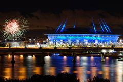 Stade de nuit Photos libres de droits