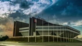 Stade Ostrava, République Tchèque d'arène du coucher du soleil CEZ de laps de temps clips vidéos